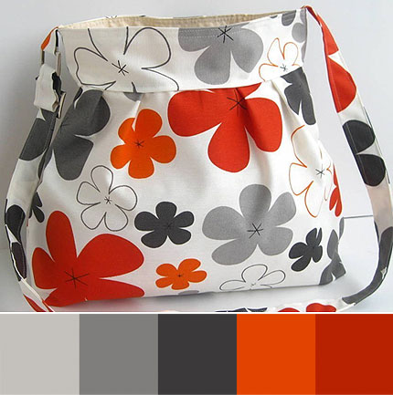 New-Grey And Orange Flowers-Free Shipping on second items in same package-THIS BAG BY REGISTERED MAIL ARE SENT-Messenger Bag-Adjustable Strap-Summer--X Large-READY TO SHIP by Marbled on Etsy