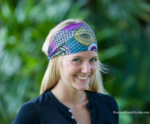 Chiffon Head Scarf Purple Multi-color by GraceandLaceCo on Etsy