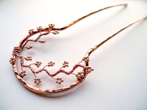 Copper Metal Hair Fork by MairzyDozy on Etsy