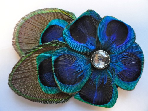 Peacock Flower Hair Clip by Lucyohlucy on Etsy