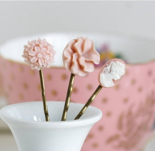 Pink Antique Hair Pins by JacarandaDesigns on Etsy
