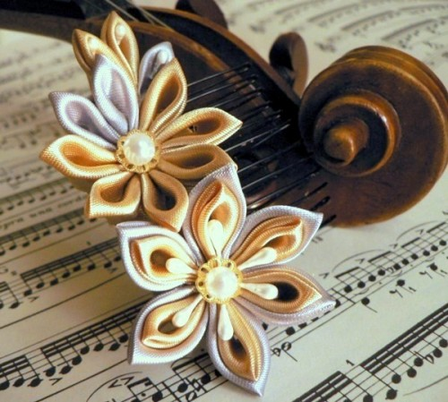 Silver and Gold Fabric Flower Haircomb