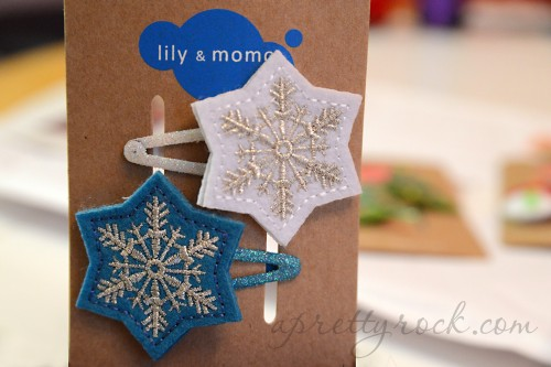 Frosted Snowflake Hair Clips