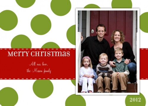 Polka Dot Christmas Photo Christmas Card